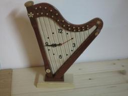 Wanduhr Harfe (dunkles Holz)