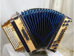 Harmonika Profi 4 WE Wurzelholz blau
